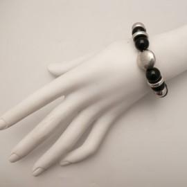 Bracelet fantaisie noir et argent Chule