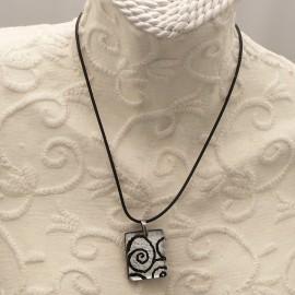 Collier fantaisie Murano médaillon noir argent rectangle