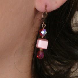 Boucles d'oreilles rose dormeuses bijou de créateur