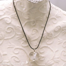 Collier fantaisie Murano coeur transparent et Argent lien noir