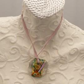 Collier fantaisie Murano médaillon doré vert ambre rose