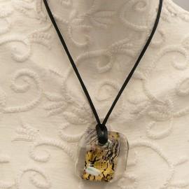 Collier fantaisie Murano médaillon doré vert noir velours noir