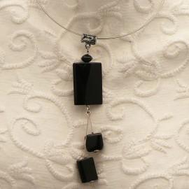 Collier torque médaillon en agathe noir 12cm