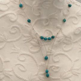 Collier fantaisie turquoise cable Argent pendant
