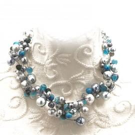Collier ras de cou perle de verre gris bleu