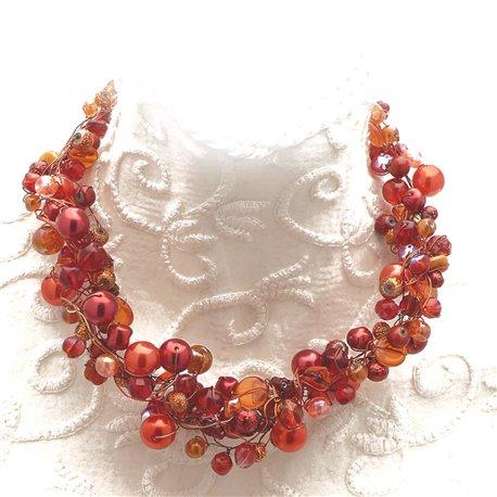 Collier ras de cou perle de verre rouge orange bijou fantaisie de créateur