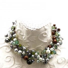 Collier ras de cou perle de verre gris vert marron