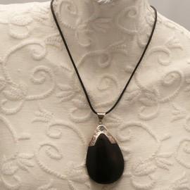 Collier fantaisie lien noir 45cm médaillon Argent bois 6cm
