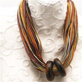 Collier ras de cou 50cm cordon multicolore 2 anneaux bois