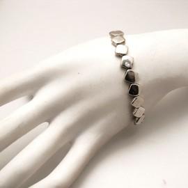 Bracelet fantaisie Ubu argent élastique losanges