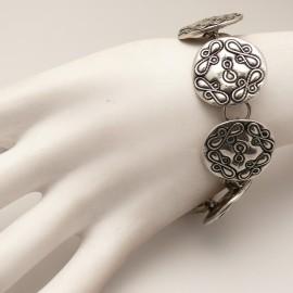 Bracelet fantaisie argent ciselé