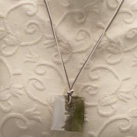Collier fantaisie Murano médaillon gris Blanc lien gris Blanc