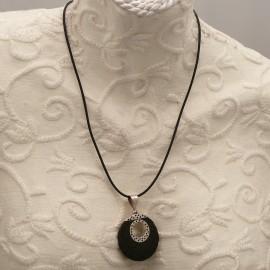 Collier noir médaillon rond creux Argent 925 et pierre de lave