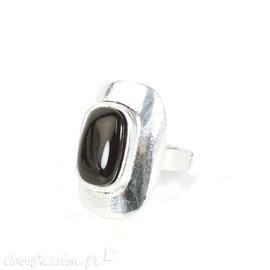 Bague Ubu rectangle argent perle noire réglable