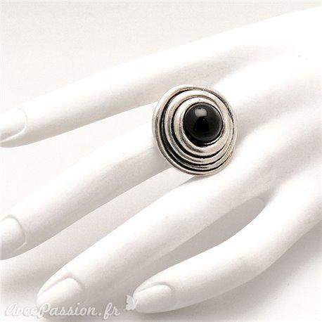 Bague Ubu noire et métal argenté réglable